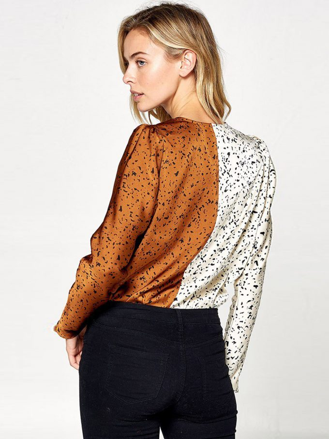 Aria Animal Print Color block Bodysuit 4