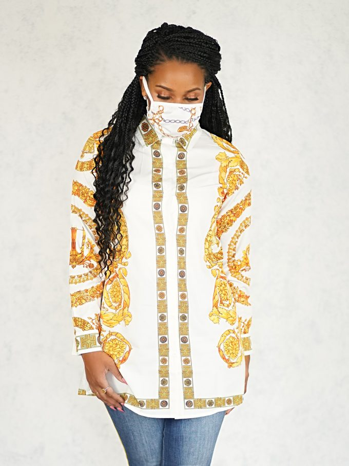 Royalty Top and Mask Set-White 2