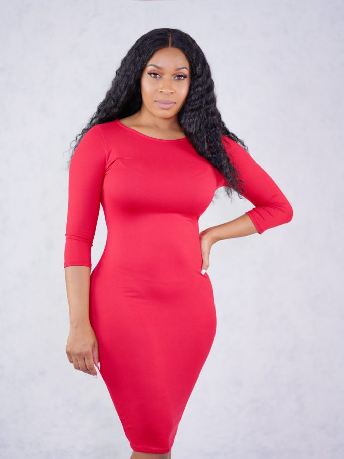 Alexis Bodycon Dress-Red 1