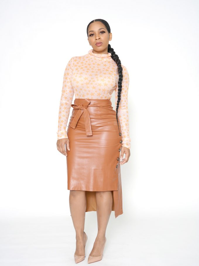 Button Side Leather Skirt-Brown 7