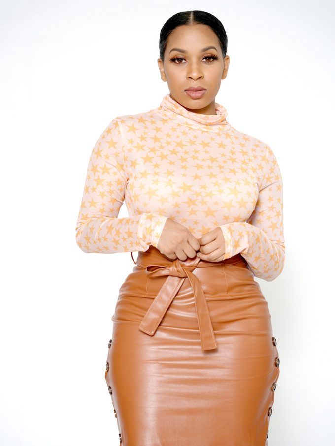 Button Side Leather Skirt-Brown 6