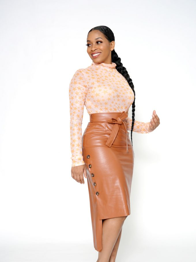 Button Side Leather Skirt-Brown 5