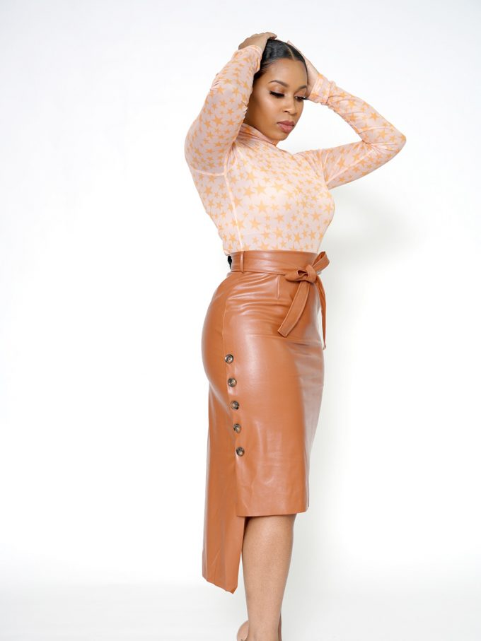 Button Side Leather Skirt-Brown 1