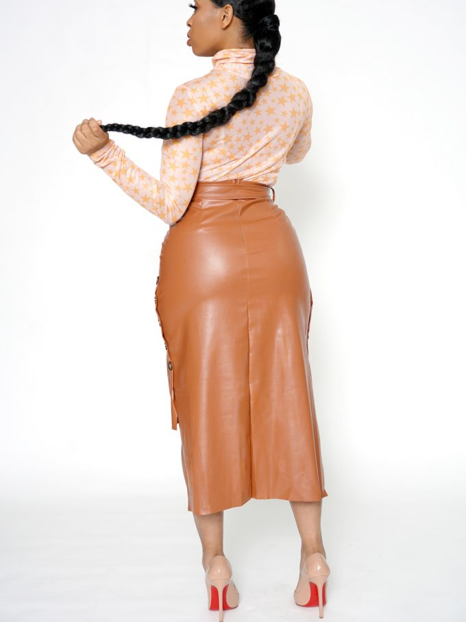 Button Side Leather Skirt-Brown 3