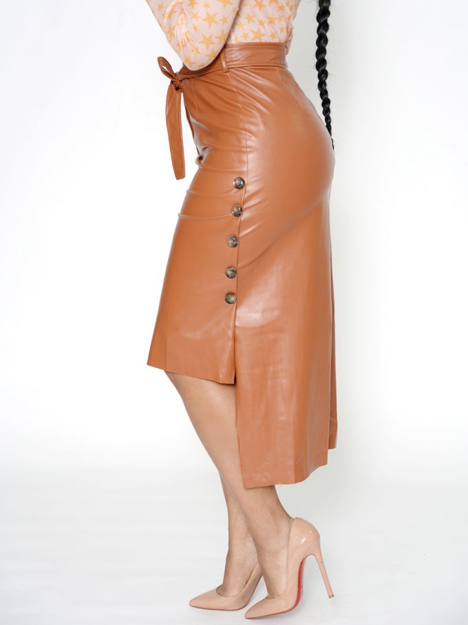 Button Side Leather Skirt-Brown 2