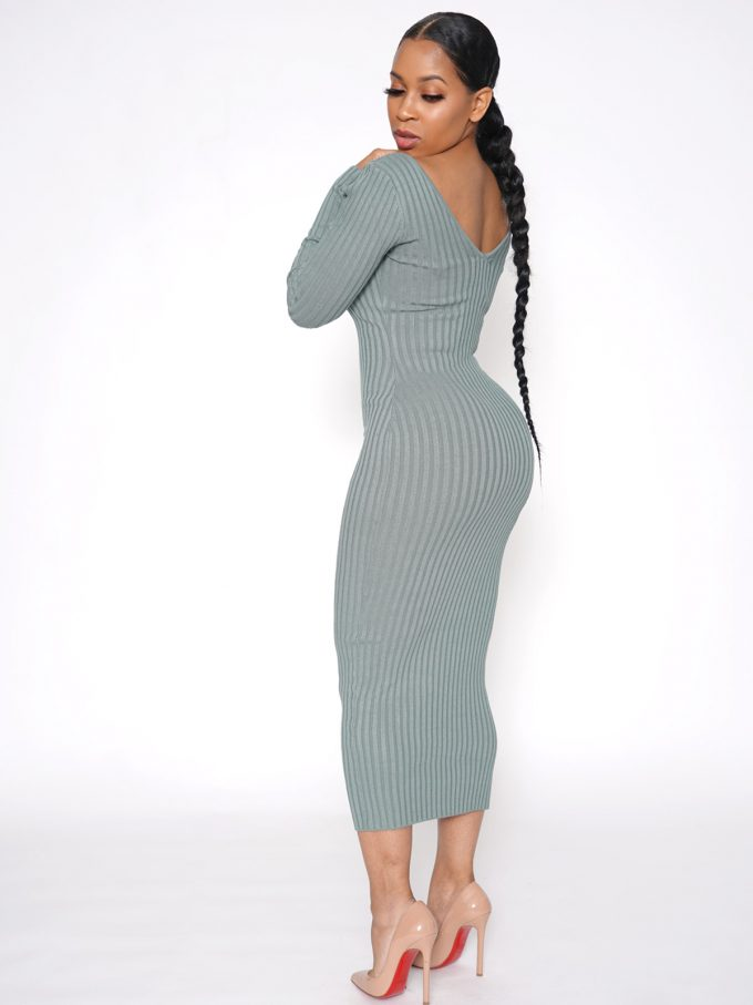 Shavonne Ribbed Dress-Green 2