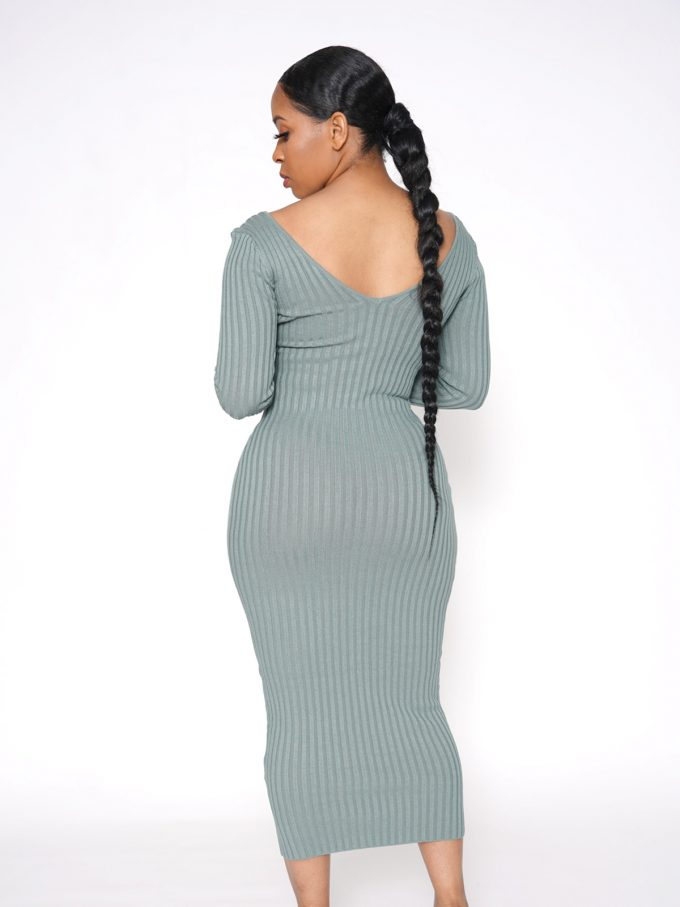 Shavonne Ribbed Dress-Green 7