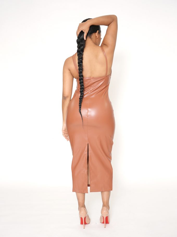 Strapped Brown Leather Midi Dress 2