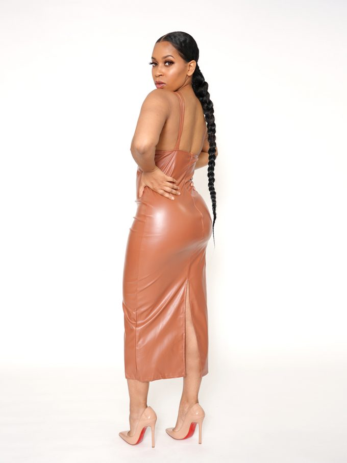 Strapped Brown Leather Midi Dress 1