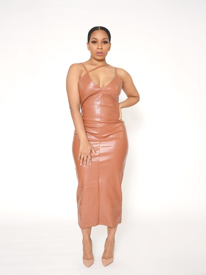 Strapped Brown Leather Midi Dress 3