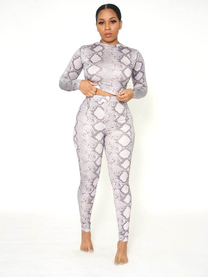 Julie Two Piece Legging Set-Snake 1