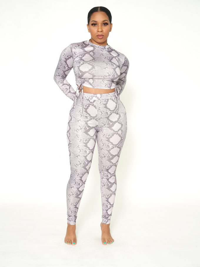Julie Two Piece Legging Set-Snake 4