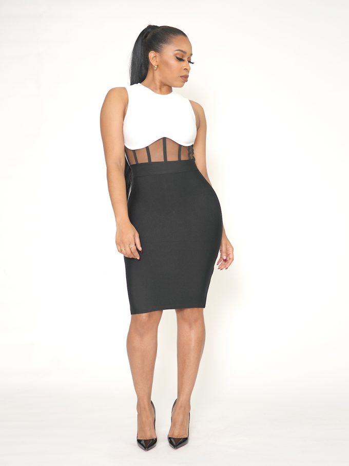 Mesh Front Bodycon Dress 1