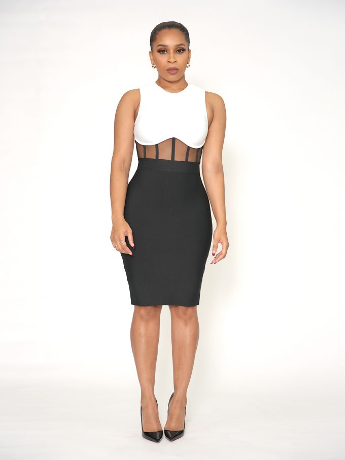 Mesh Front Bodycon Dress 7
