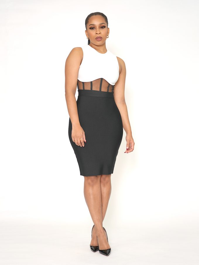 Mesh Front Bodycon Dress 5
