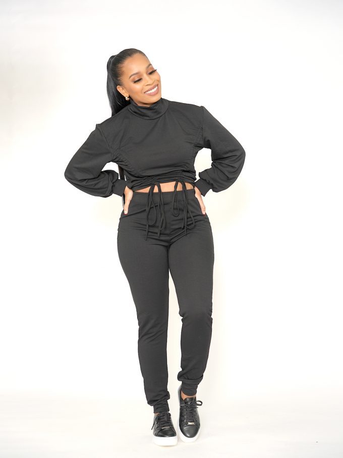Draw String Sweat Suit - Black 5