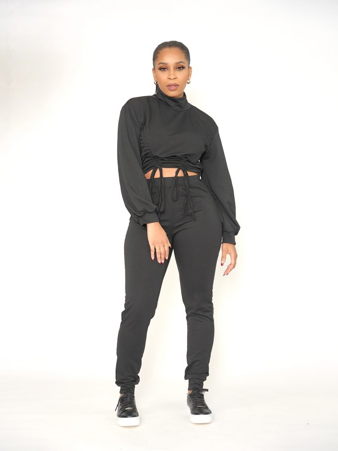 Draw String Sweat Suit - Black 1