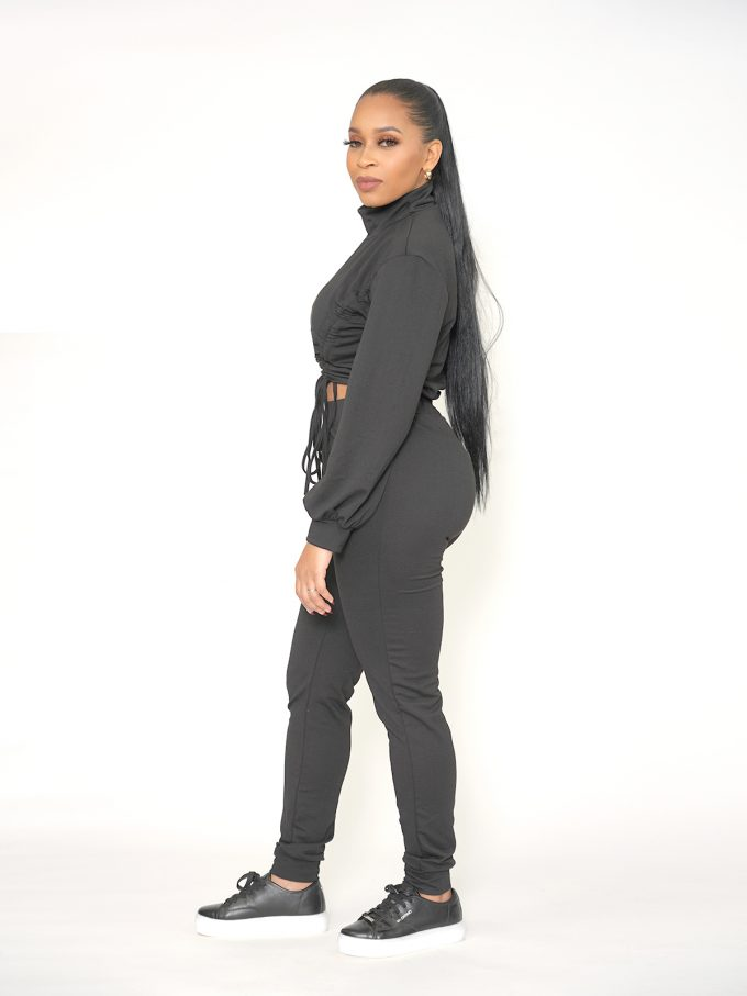 Draw String Sweat Suit - Black 3