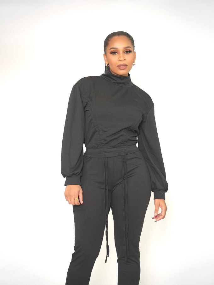 Draw String Sweat Suit - Black 2