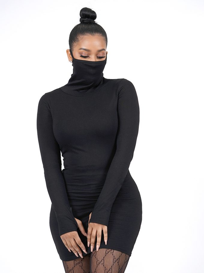 Black Long Sleeve Masked Dress 3