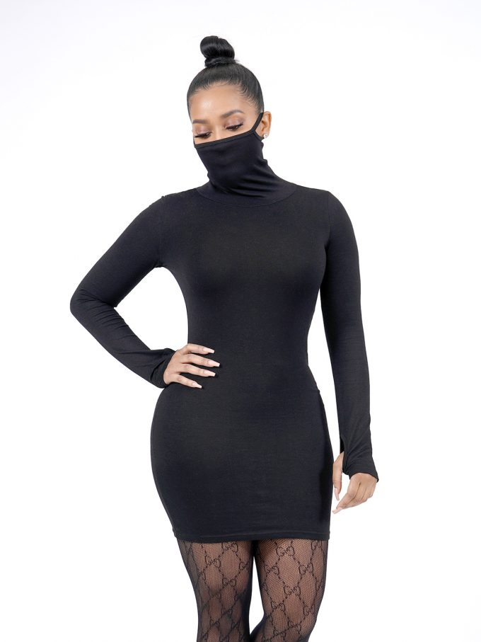 Black Long Sleeve Masked Dress 5