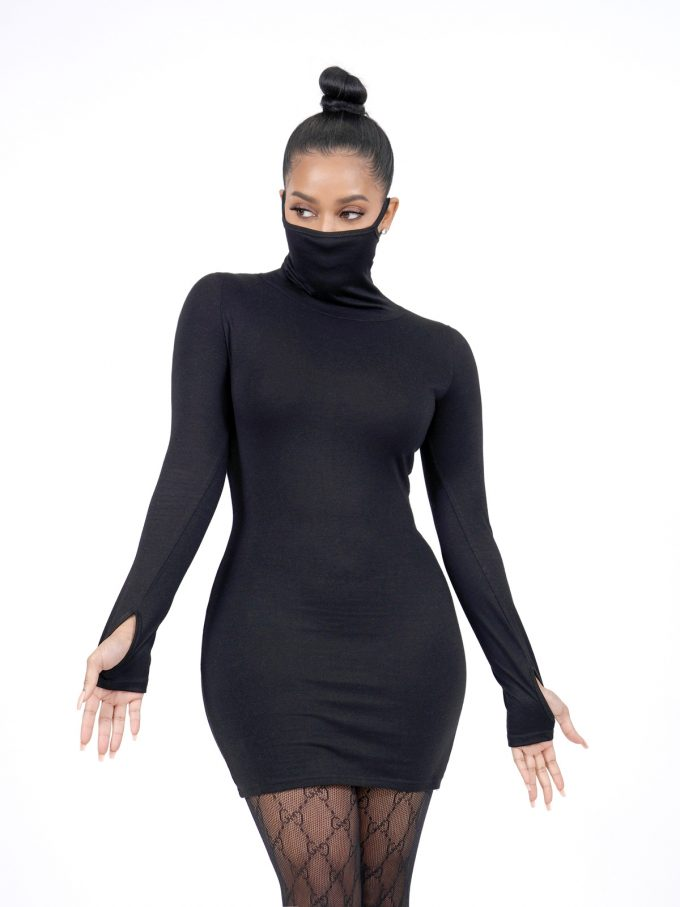 Black Long Sleeve Masked Dress 1