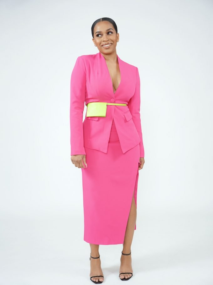 Hot Pink Blazer Skirt Set- Pouch Belt Included 5