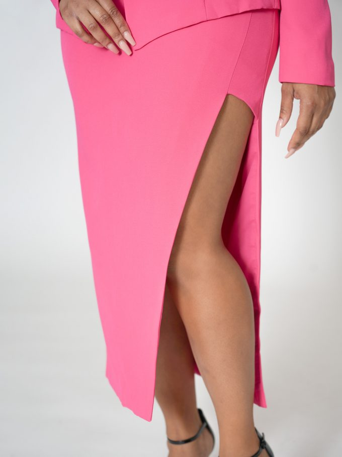 Hot Pink Blazer Skirt Set- Pouch Belt Included 3