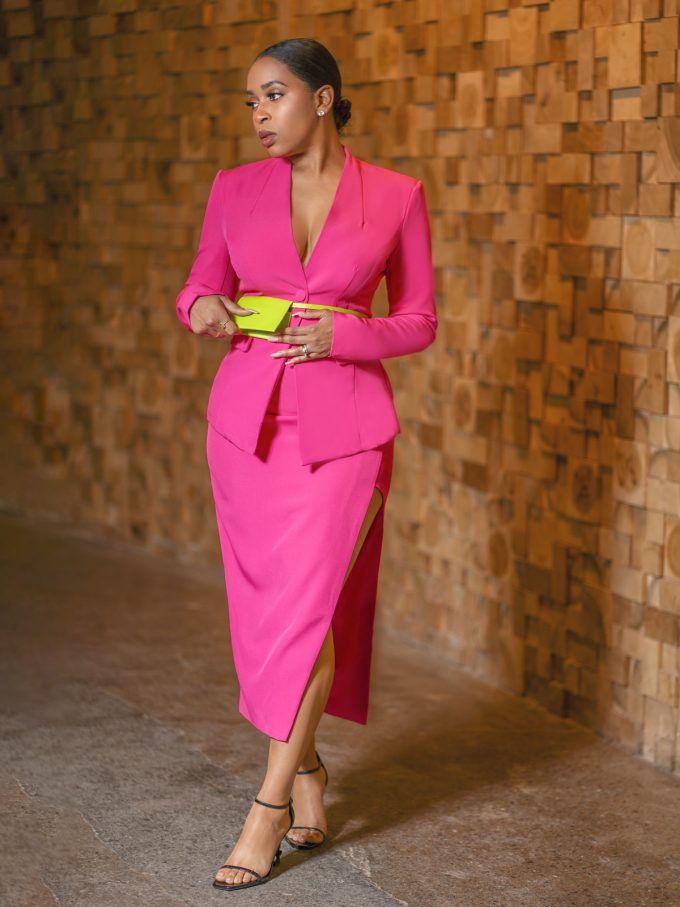 Hot Pink Blazer Skirt Set- Pouch Belt Included 11