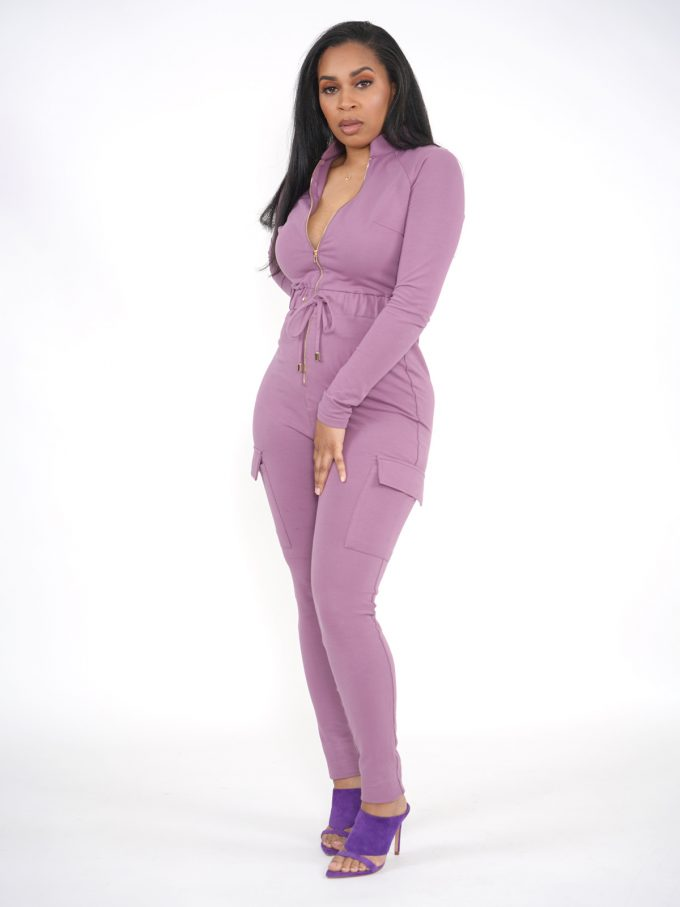 Lilac Terry Cargo Jumpsuit 1