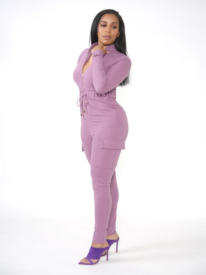 Lilac Terry Cargo Jumpsuit 2