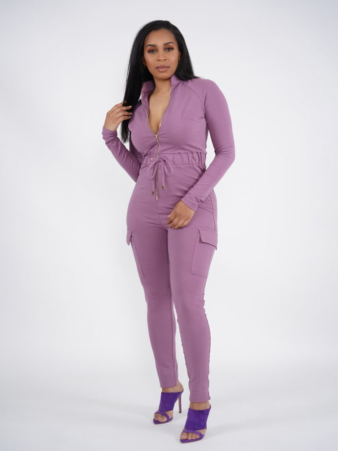 Lilac Terry Cargo Jumpsuit 3
