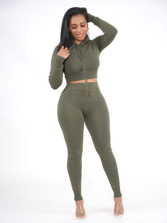Olive Knitted Lounge Set 4