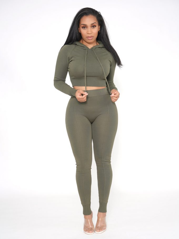 Olive Knitted Lounge Set 3