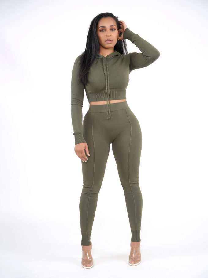 Olive Knitted Lounge Set 1