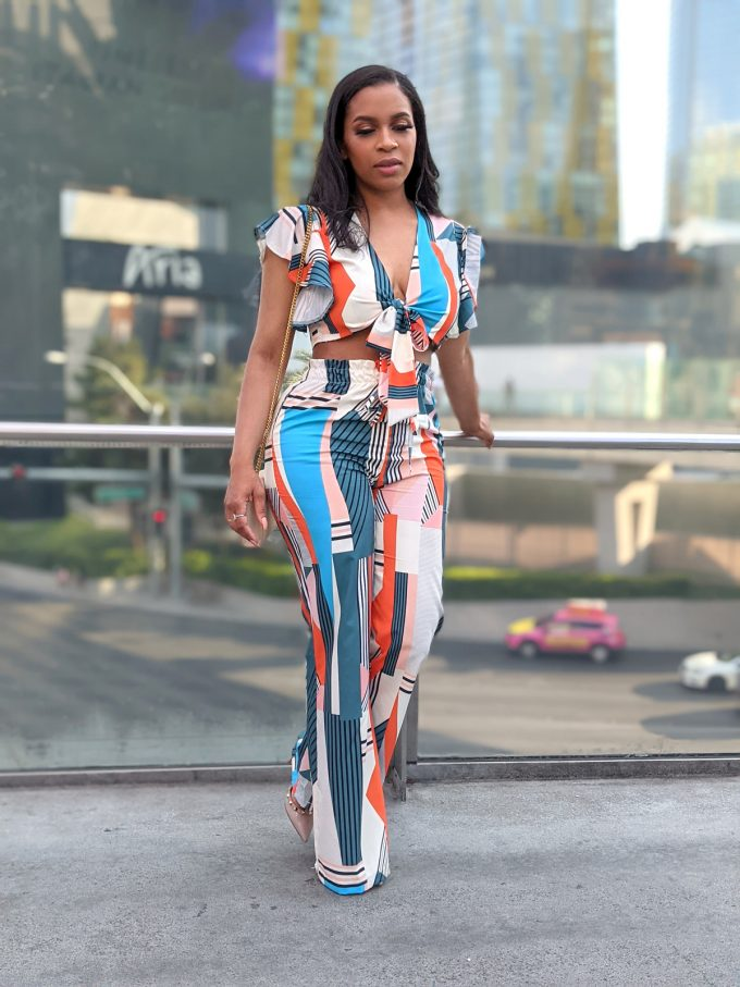Multi-Color Two Piece Crop Top with Wide Leg Pants 2