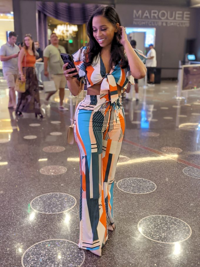 Multi-Color Two Piece Crop Top with Wide Leg Pants 1
