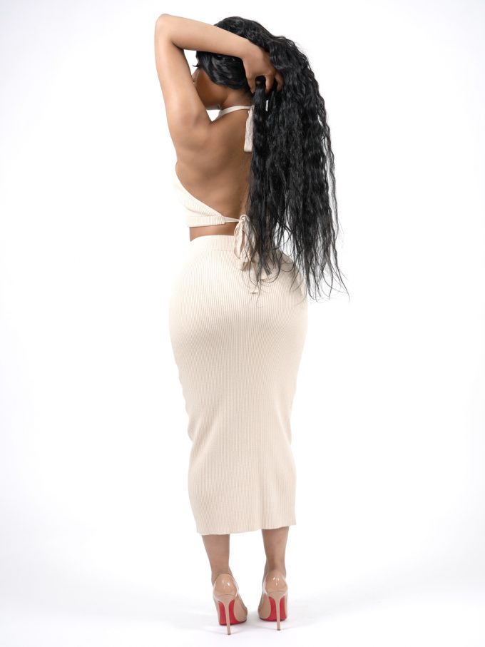 Two-Piece Ribbed Cream Set 2